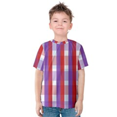 Gingham Pattern Checkered Violet Kids  Cotton Tee