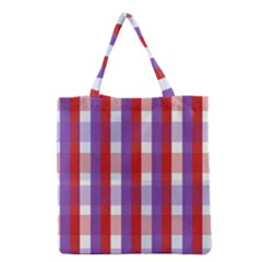 Gingham Pattern Checkered Violet Grocery Tote Bag