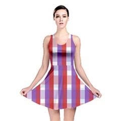 Gingham Pattern Checkered Violet Reversible Skater Dress