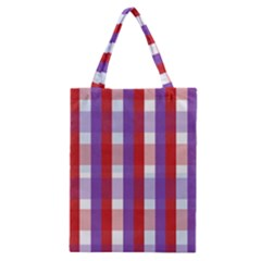 Gingham Pattern Checkered Violet Classic Tote Bag