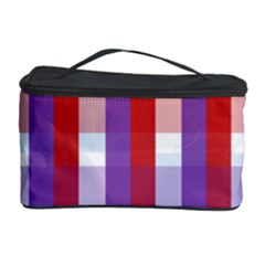 Gingham Pattern Checkered Violet Cosmetic Storage Case