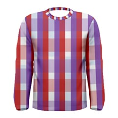 Gingham Pattern Checkered Violet Men s Long Sleeve Tee