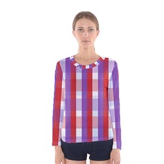 Gingham Pattern Checkered Violet Women s Long Sleeve Tee