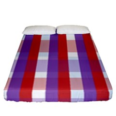 Gingham Pattern Checkered Violet Fitted Sheet (queen Size)