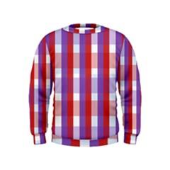 Gingham Pattern Checkered Violet Kids  Sweatshirt