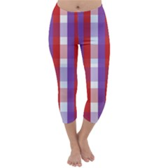 Gingham Pattern Checkered Violet Capri Winter Leggings