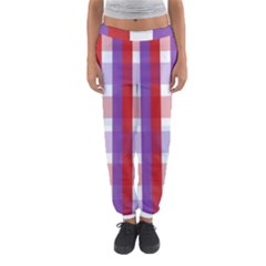Gingham Pattern Checkered Violet Women s Jogger Sweatpants