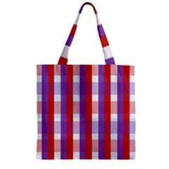 Gingham Pattern Checkered Violet Zipper Grocery Tote Bag