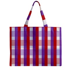 Gingham Pattern Checkered Violet Zipper Mini Tote Bag