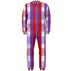 Gingham Pattern Checkered Violet Onepiece Jumpsuit (men)