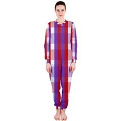 Gingham Pattern Checkered Violet Onepiece Jumpsuit (ladies)