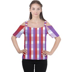 Gingham Pattern Checkered Violet Women s Cutout Shoulder Tee