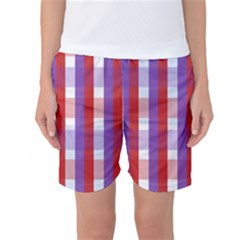 Gingham Pattern Checkered Violet Women s Basketball Shorts