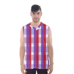 Gingham Pattern Checkered Violet Men s Basketball Tank Top