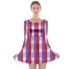 Gingham Pattern Checkered Violet Long Sleeve Skater Dress