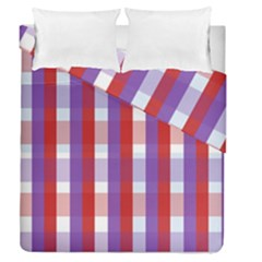 Gingham Pattern Checkered Violet Duvet Cover Double Side (queen Size)