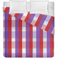 Gingham Pattern Checkered Violet Duvet Cover Double Side (king Size)
