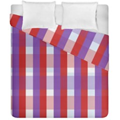 Gingham Pattern Checkered Violet Duvet Cover Double Side (california King Size)