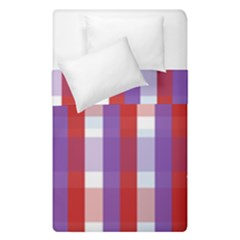 Gingham Pattern Checkered Violet Duvet Cover Double Side (single Size)