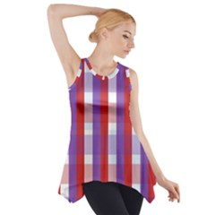 Gingham Pattern Checkered Violet Side Drop Tank Tunic