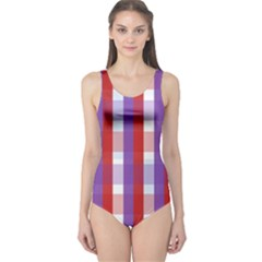Gingham Pattern Checkered Violet One Piece Swimsuit