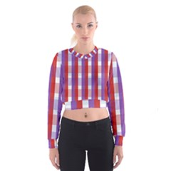 Gingham Pattern Checkered Violet Women s Cropped Sweatshirt