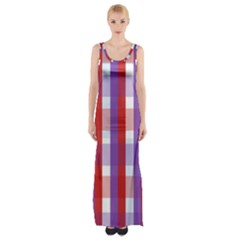 Gingham Pattern Checkered Violet Maxi Thigh Split Dress