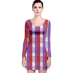 Gingham Pattern Checkered Violet Long Sleeve Velvet Bodycon Dress