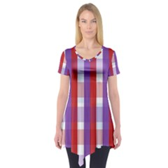 Gingham Pattern Checkered Violet Short Sleeve Tunic