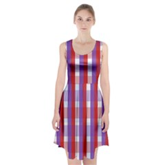 Gingham Pattern Checkered Violet Racerback Midi Dress