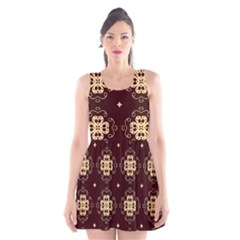 Seamless Ornament Symmetry Lines Scoop Neck Skater Dress