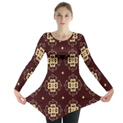 Seamless Ornament Symmetry Lines Long Sleeve Tunic