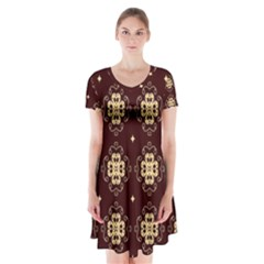Seamless Ornament Symmetry Lines Short Sleeve V Neck Flare Dress