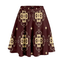 Seamless Ornament Symmetry Lines High Waist Skirt