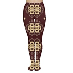 Seamless Ornament Symmetry Lines Women s Tights