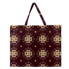 Seamless Ornament Symmetry Lines Zipper Large Tote Bag