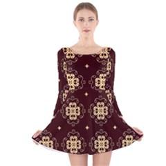 Seamless Ornament Symmetry Lines Long Sleeve Velvet Skater Dress