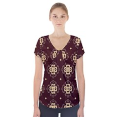 Seamless Ornament Symmetry Lines Short Sleeve Front Detail Top