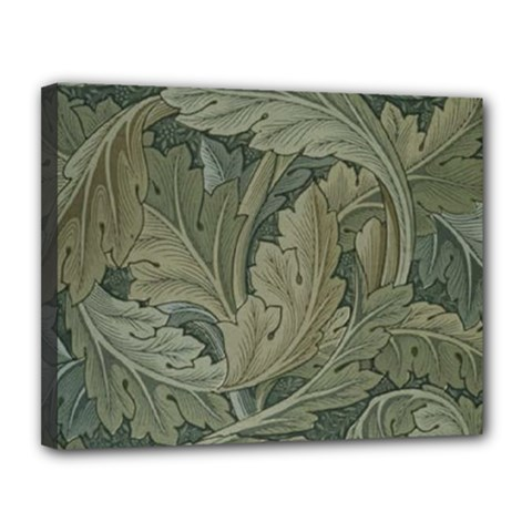 Vintage Background Green Leaves Canvas 14  x 11
