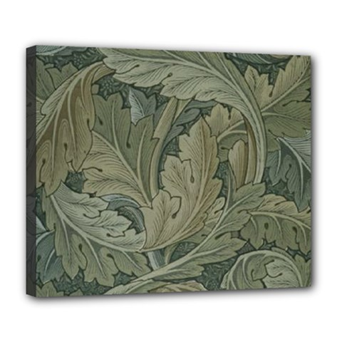 Vintage Background Green Leaves Deluxe Canvas 24  x 20