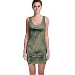 Vintage Background Green Leaves Sleeveless Bodycon Dress