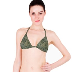 Vintage Background Green Leaves Bikini Top