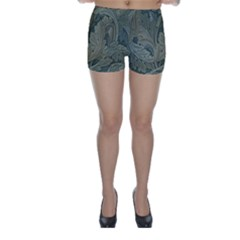 Vintage Background Green Leaves Skinny Shorts