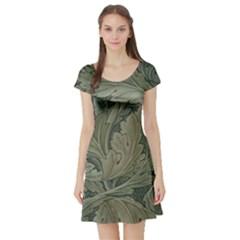 Vintage Background Green Leaves Short Sleeve Skater Dress