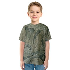 Vintage Background Green Leaves Kids  Sport Mesh Tee