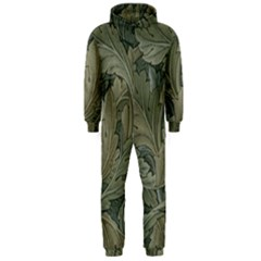 Vintage Background Green Leaves Hooded Jumpsuit (Men)