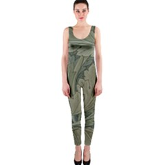 Vintage Background Green Leaves OnePiece Catsuit