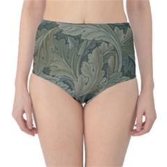 Vintage Background Green Leaves High Waist Bikini Bottoms