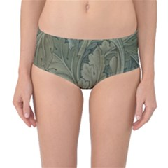 Vintage Background Green Leaves Mid Waist Bikini Bottoms