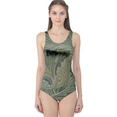 Vintage Background Green Leaves One Piece Swimsuit